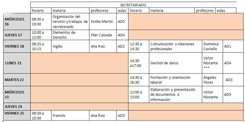 calendario secretariado