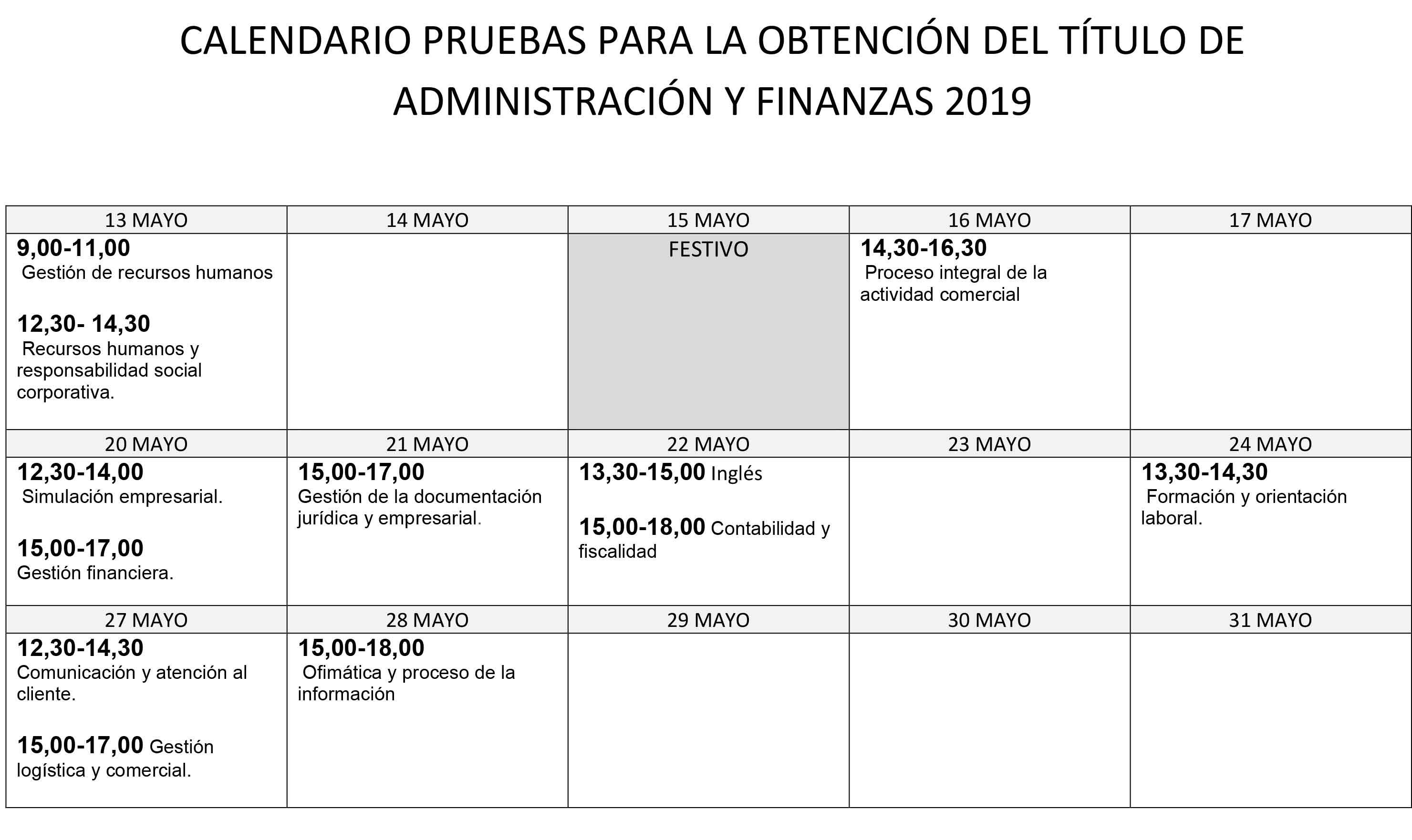 Calendario Financiero 2019.Ies Luis Bunuel